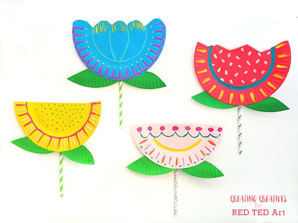 Paper Paper Plate Flower Craft \u2013 Supplies ...  sc 1 st  Red Ted Art : paper plate flower craft - pezcame.com