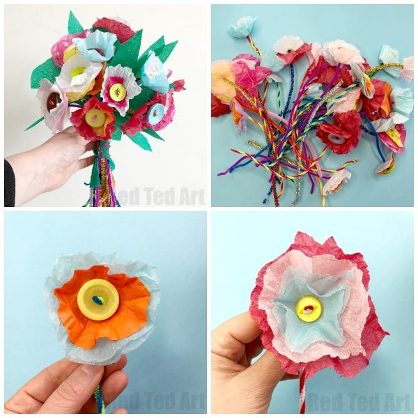Primary School Teacher's Wedding Bouquet made by children - Tissue Paper Flower Bouquet by Kids. How to make small tissue paper flowers #schoolteacher #wedding #paperflowers #tissuepaper #bouquet