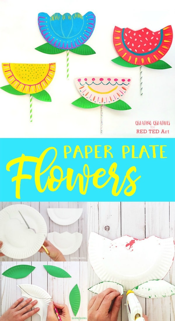 Paper plate flower craft for kids red ted arts blog paper plate flower craft for preschool how to make a paper plate flower quick and mightylinksfo