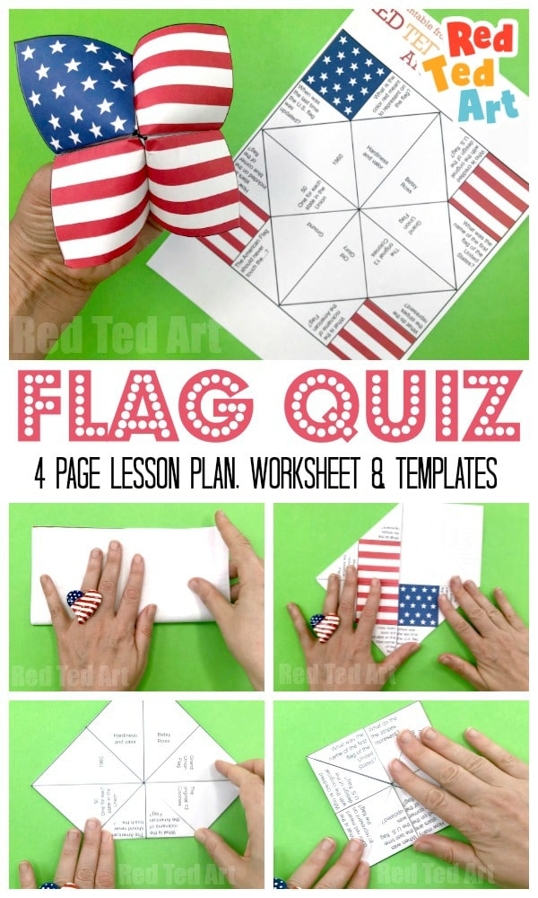 picture relating to 4th of July Trivia Printable identify American Flag Cootie Catcher Printable - Pink Ted Artwork