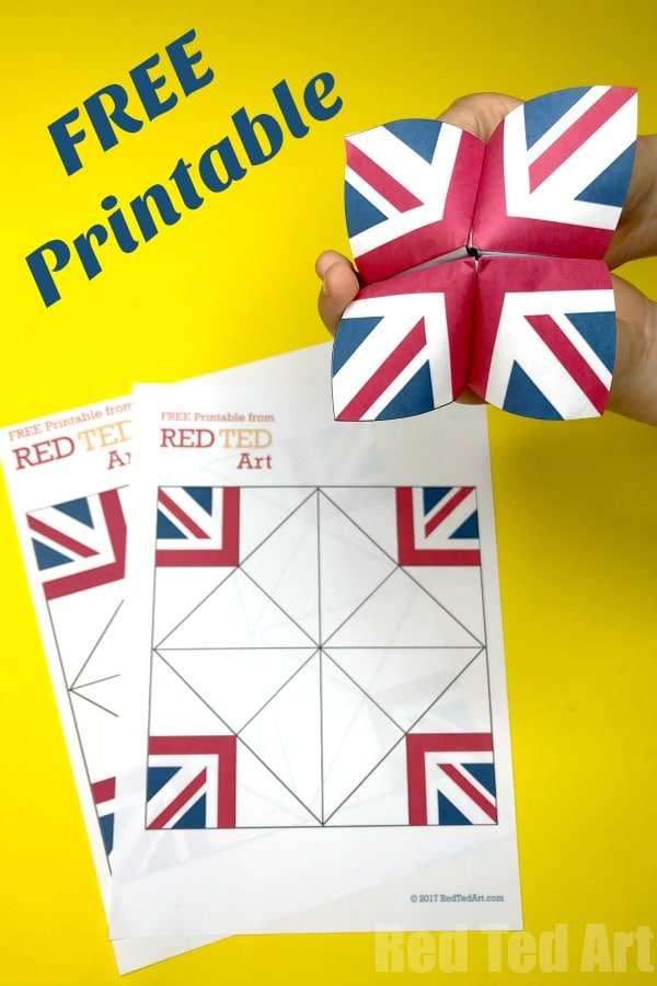 graphic regarding Printable Fortune Teller identified as Union Jack Fortune Teller Printable - Pink Ted Artwork