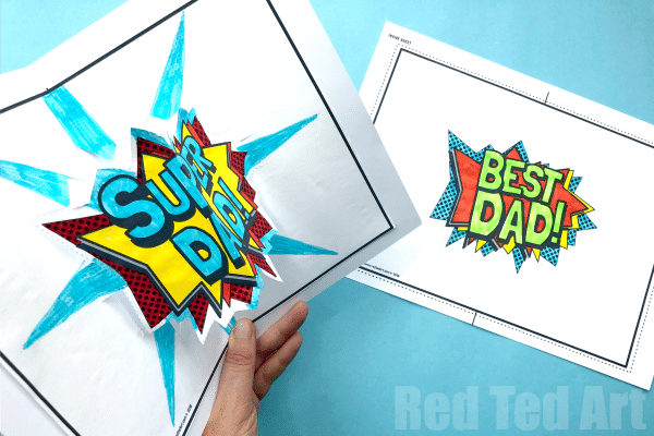 Pop Up Best Dad Card - Dad Pop Up Card Template. Free 3d Father's Day Card Printable. How to make a pop up card for Father's Day #fathersday #popup #3d #printable #bestdad #superdad