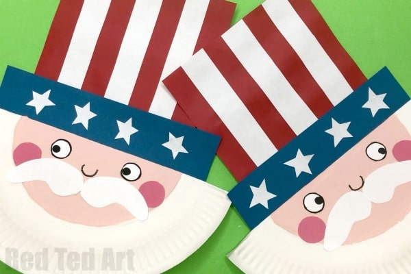 Paper Plate Uncle Sam Craft for Preschool. This Uncle Sam Rocks.. no really.. he does.. a ROCKING Paper Plate 4th July Craft for kids. So easy. So cute. So fun! #rocking #paperplate #unclesam #patriotic #preschool #forkids #4thjuly #americanflag