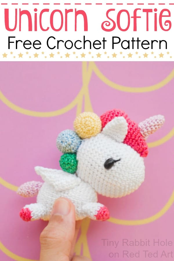 Free Crochet Unicorn Pattern Red Ted Art's Blog Simple Unicorn Crochet Pattern