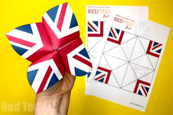 Union Jack Fortune Teller Printable - a quick and easy Royal Wedding Craft for Kids!! Fill the Fortune Tellers with Trivia and Facts about the Royal Wedding or Harry and Meghan! Free Printable! #printable #unionjack #fortuneteller #origami #royalwedding