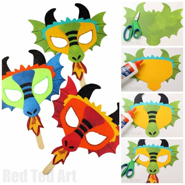 DIY Dragon Mask Printables - Red Ted Art - Make crafting ...