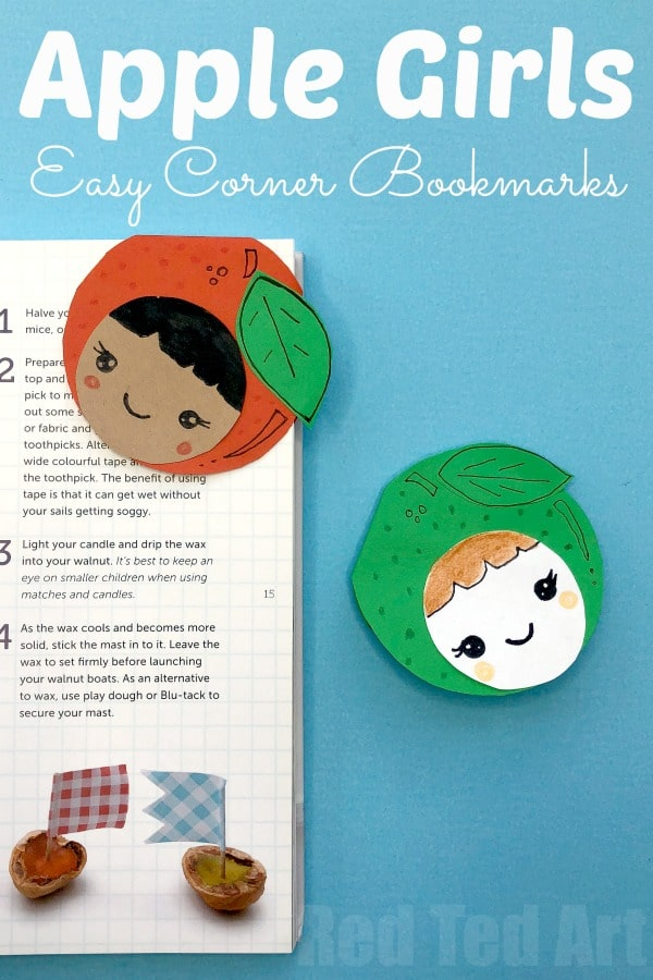 How to make a Corner Bookmark Apple Girls. Adorable Kawaii Apple Girl Bookmarks. A great little back to school project and teacher's gift idea #cornerbookmarks #bookmarks #apples #kawaii #backtoschool #teachers
