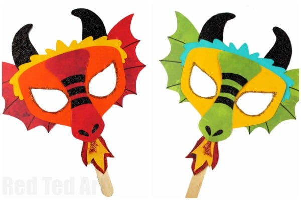 image regarding Printable Masks for Kids named Do it yourself Dragon Mask Printables - Pink Ted Artwork