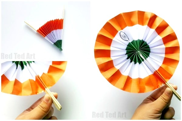 Indian Flag Paper Fans Printable - a great paper craft for India Independence Day or India Republic day. Make this printable Indian Flag Decoration or handheld paper fan for kids #india #independenceday #printable #indiaflag #paperfan