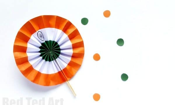 Indian Flag Paper Fans Printable