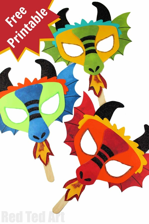 Free DIY Dragon Mask Printables perfect for Dragon Fans and Chinese New Year Crafts for kids #dragons #masks #chinesenewyear #printable #templates