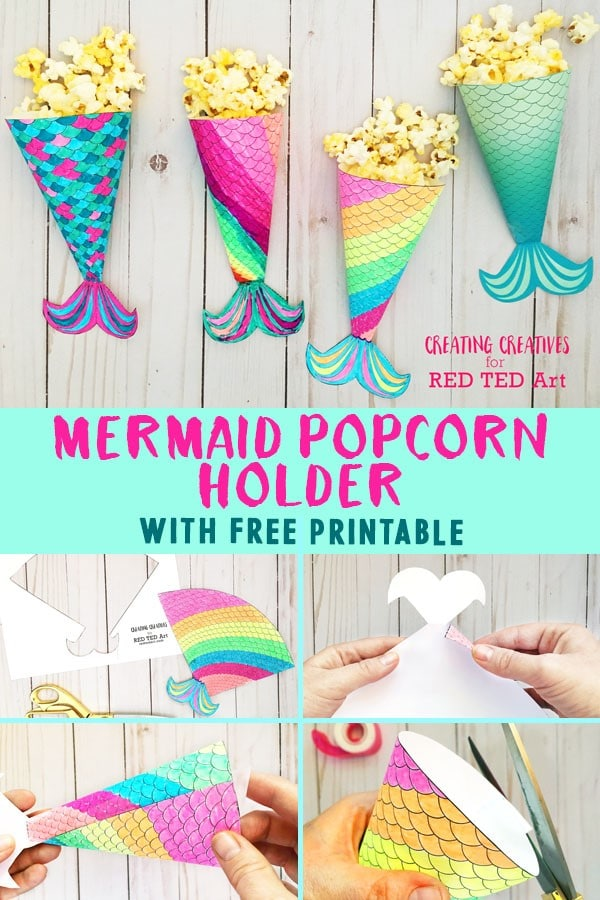 graphic regarding Printable Mermaid Pictures named Mermaid Online video Night time Printable Popcorn Holder - Pink Ted Artwork