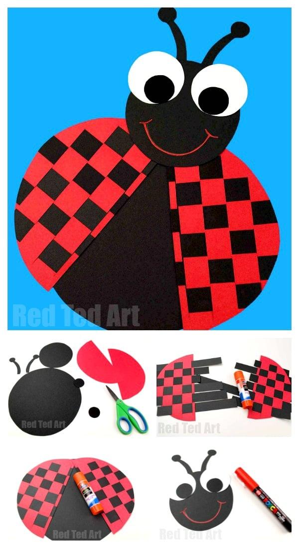 Paper Weaving Ladybug Project - Super cute paper craft for preschool this summer. Adore this little Lady Bug Paper Weaving Craft!! Includes free templates #ladybug #papercrafts #weaving #templates