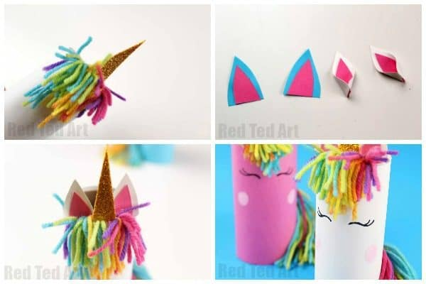 Toilet Paper Roll Unicorn for Preschool. From one toilet paper roll and one unicorn craft theme, to 3 different Toilet Paper Roll Unicorn crafts #unicorns #toiletpaperoll #toiletroll #recycling #preschool