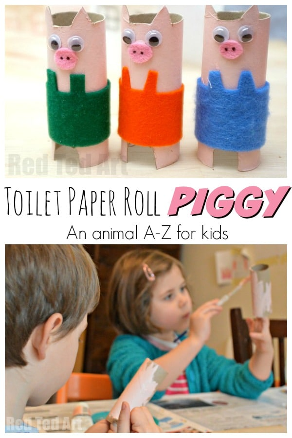 Toilet Paper Roll Pig Craft. Easy Pig Craft for Preschool. We love pig crafts for kids #pig #pigs #crafts #preschool #piggy #forkids #toiletpaperrolls #tprolls #recycled