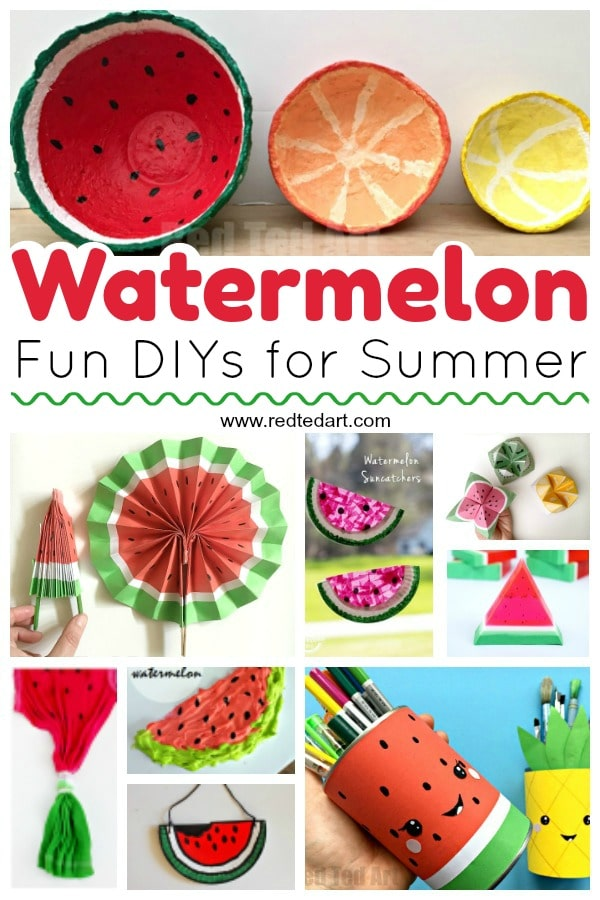 DIY Watermelon Craft Ideas and Activities for kids. Lots of great watermelon ideas for summer fun - from paper watermelon crafts to watermelon crafts for preschool. Make watermelon soap and tye dye your shirts! #watermelon #diy #crafts #summer #preschool