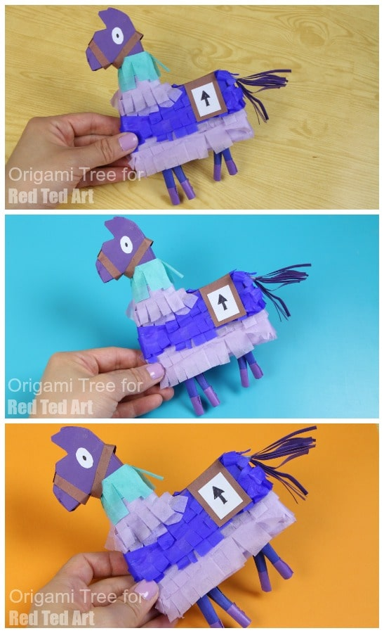 DIY Fortnite Llama Pinata - DIY Fortnite Party Crafts - make an easy Fortnite Llama Pinata with paper and cardstock. Fun DIY Fortnite Crafts for kids and adults. #fortnite #llama