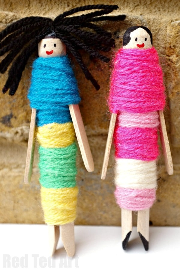 How to Make Worry Dolls with Pegs - these are a perfect little DIY for Summer or Back to School. Help your kids discuss worries and manage them away! Love this Guatemalan Worry Doll inspired Craft!