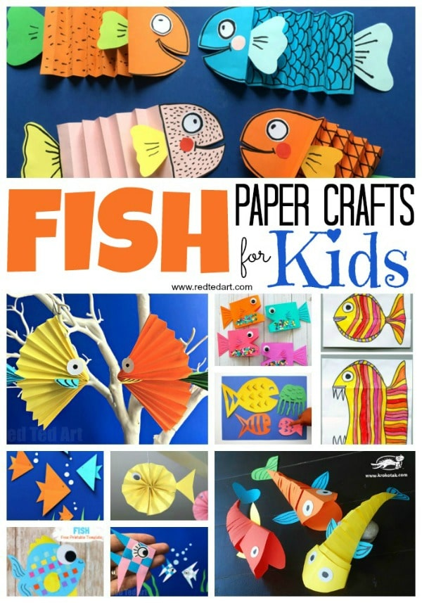 Diy Paper Fish Crafts Red Ted Art