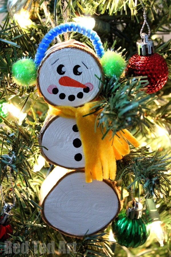 Wood Slice Snowman Ornaments Red Ted Art