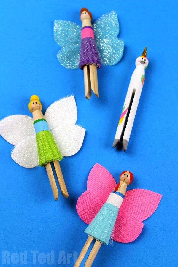 Unicorn Peg Doll and Fairy Peg Doll Friends. These would be amazing for a Fairy Doll Party! #fairy #unicorns #pegdolls #preschool