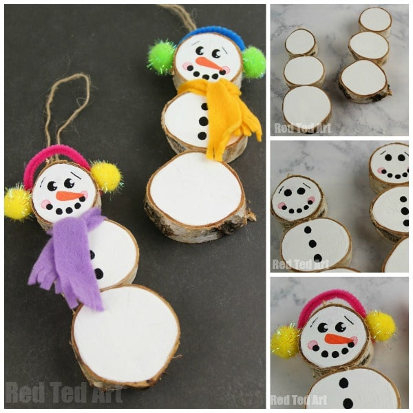 How to make a Wood Slice Snowman Ornament. Adorable DIY Snowman Ornaments to make from wood slices. #Snowman #woodslice #christmas #ornaments #winter