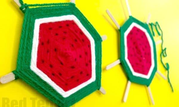 DIY Watermelon God's Eye Weaving for Kids