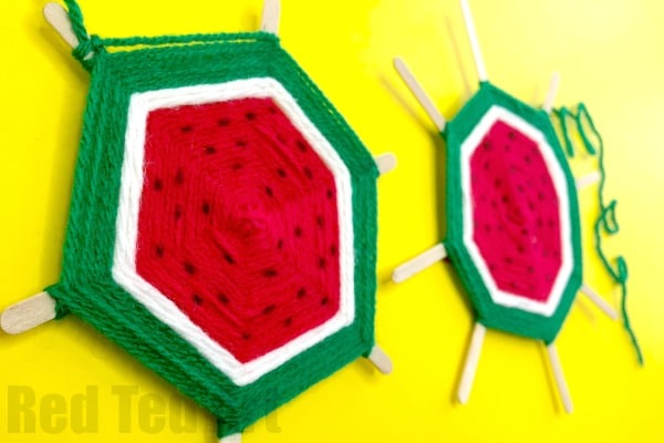 DIY Watermelon God's Eye Weaving for Kids #watermelon #yarn #godseye #summer #weaving