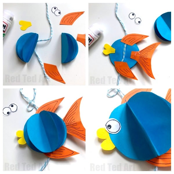 3d Paper Fish Decoration - how to make a paper fish bauble. Love these easy DIY Fish Decorations for summer. So cute! #Paper #fish #baubles #decorations #3d