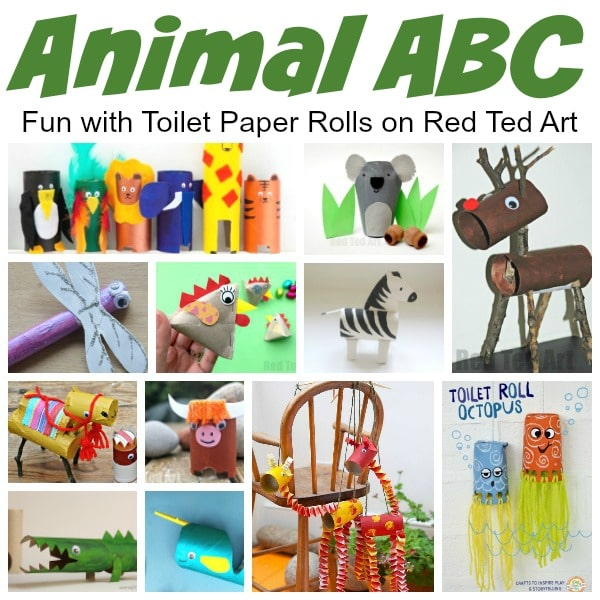 Animal ABC - Toilet Paper Roll Crafts for Preschool - have fun with these fantastic Toilet Paper Roll Animal Crafts exploring the Alphabet! #preschool #toiletpaperrolls #alphabet #abc
