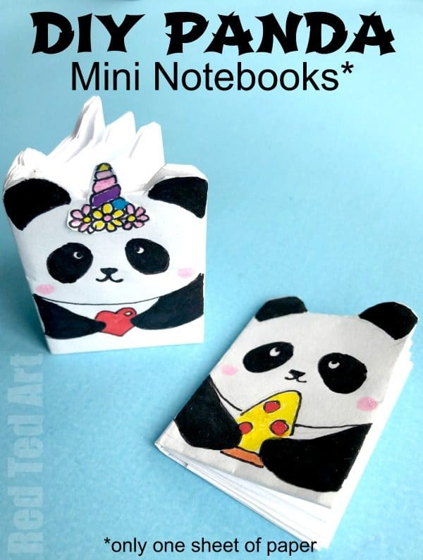DIY Panda Mini Notebook Crafts. How to make a Notebook from one sheet of paper - no glue. Love this Panda and Pandacorn DIY. How cute. Adorable DIY School Supplies for back to school! #schoolsupplies #backtoschool #notebooks #panda #pandacorn