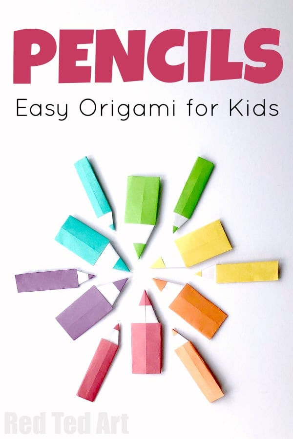 Easy Origami Pencil for Kids. Make this Simple Origami Pencil for Back To School. They make great Paper Pencil Bookmarks or would be fun DIY Lunchbox Note #pencil #papercrafts #origami #backtoschool #bookmarks