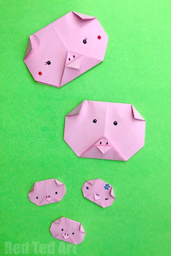 Easy Origami Pig Face Red Ted Arts Blog