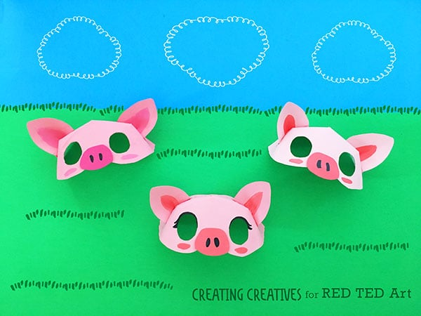 paper plate pig mask template red ted art s blog