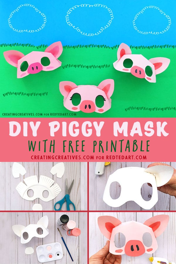 Paper Plate Pig Mask Template - Red Ted Art
