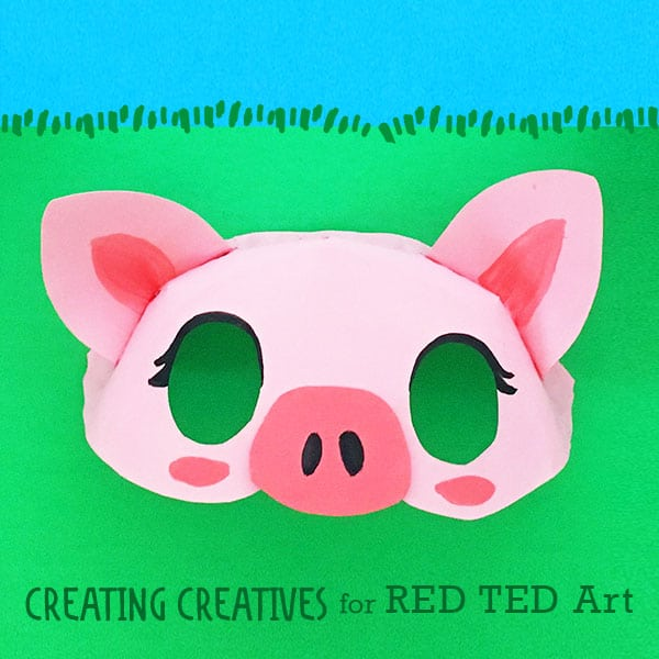 Free Paper Plate Pig Mask Template. How to make a 3D Pig Mask from Paper plates for preschool. #paperplates #pigs #yearofthepig #preschool #templates #masks