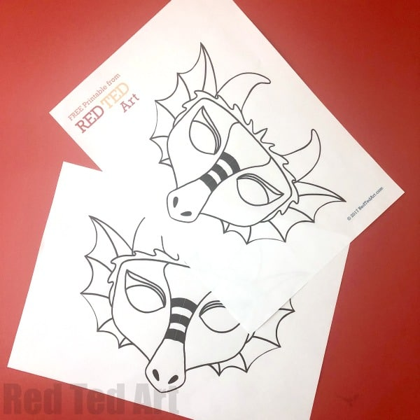 Dragon Mask Coloring Page Red Ted Art Make Crafting With Kids Easy Fun