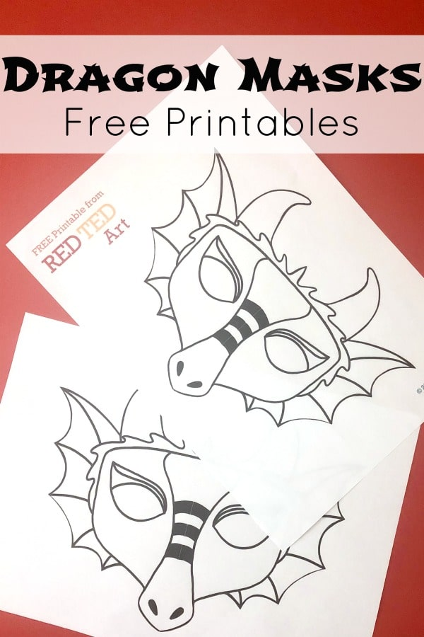 Easy Dragon Mask Coloring Pages. Print, Color and Wear these fabulous Printable Dragon Masks. A quick and easy printable for Chinese New Year or St David's Day! #dragon #printable #masks #chinesenewyear