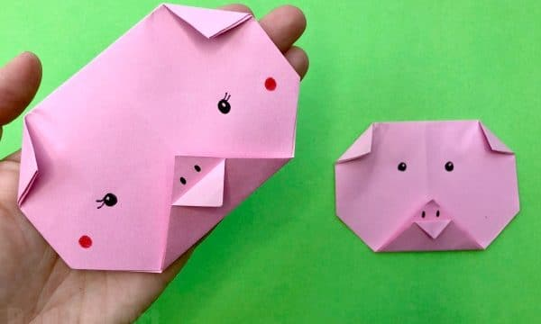 Easy Origami Pig Face