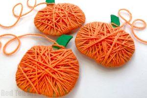 Yarn wrapped pumpkins