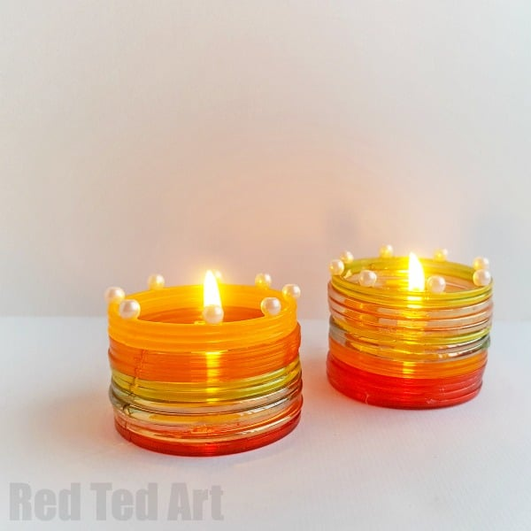 Diwali Candle Holder for kids. Make your own DIYA with kids this Diwali. Gorgeous Diwali Light Activity #Diwali #DIYA #kids