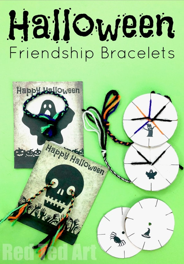 Halloween Friendship Bracelets - No Candy Halloween Gift Ideas and Halloween Printable. How to make Friendship bracelets with cardboard. Quick and easy.