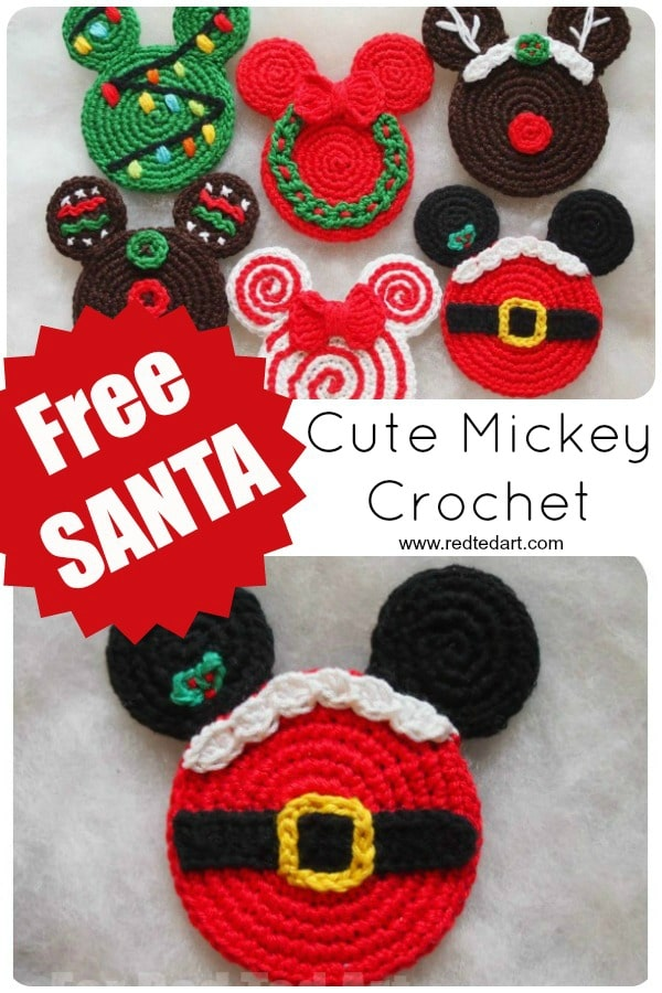 Crochet Mickey Mouse Ornaments - free Santa Mickey Mouse Ornament Crochet Pattern #crochet #patterns #disney