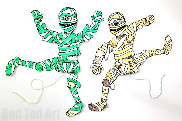 Articulated Mummy Paper Puppet. Paper Toys for Halloween. Such a fun Halloween Coloring Page and Paper Puppet Toy #halloween #mummy #printable #puppet