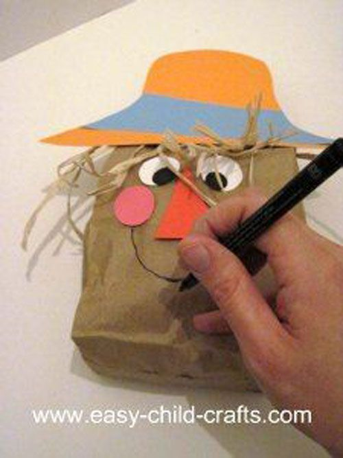 Paper Bag Scarecrow puppet