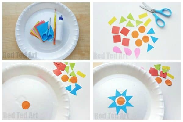 Paper Plate Rangoli Craft for Kids' Diwali. How to make a Rangoli with Kids. Teaches colours, shapes and pattern making. Diwali Kids! #Diwali #rangoli #paperplate