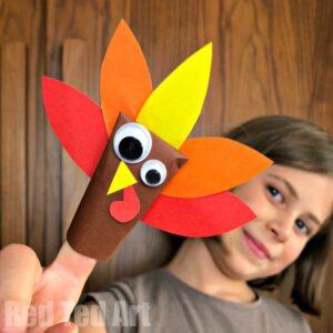 Paper turkey finger puppet