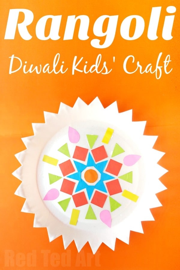 Paper Plate Rangoli Kids Diwali Craft Red Ted Art