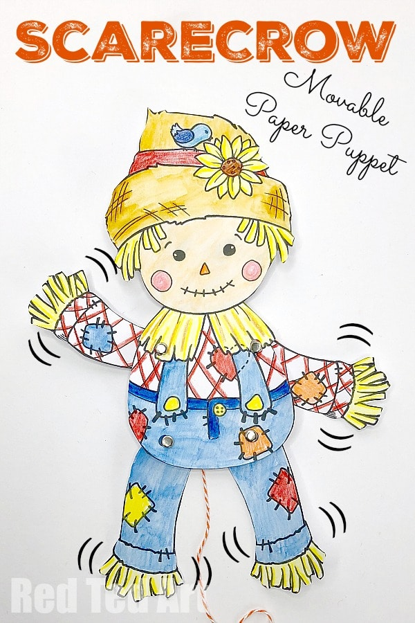 Free Scarecrow Puppet Printable. Articulated Paper Puppet for Harvest Festival and Fall. Super cute free Scarecrow Printable #scarecrow #diy #printable #paperpuppet