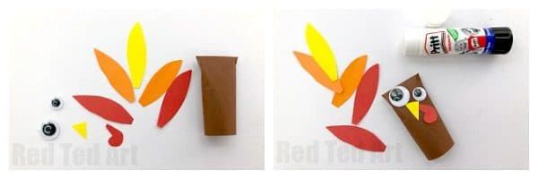 Easy Paper Turkey Finger Puppet for Preschool - how to make a paper turkey craft with kids. Easy no mess turkey finger puppet for Thanksgiving. Great as pencil topper or Turkey Decoration too #turkey #paper #preschool